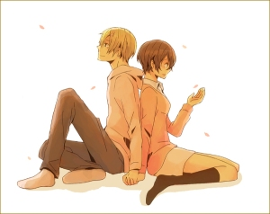 straight couple: Masaomi x Saki.  Cute.